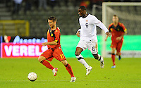 Maurice Edu (r) of team USA and Dries Mertens of team Belgium during the friendly match Belgium against USA at King Baudoin stadium in Brussel, Belgium on September 06th, 2011.