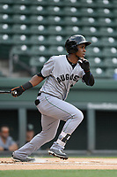 Designated hitter Manuel Geraldo (26) of the Augusta GreenJackets bats in a game against the Greenville Drive on Thursday, May 17, 2018, at Fluor Field at the West End in Greenville, South Carolina. Augusta won, 2-1. (Tom Priddy/Four Seam Images)