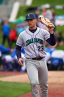 Cedar Rapids Kernels first baseman Ben Rodriguez (23) during a Midwest League game against the South Bend Cubs at Four Winds Field on May 8, 2019 in South Bend, Indiana. South Bend defeated Cedar Rapids 2-1. (Zachary Lucy/Four Seam Images)