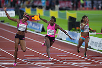 STEWART Kerron (JAM) crossing the finish line at the IAAF Diamond League meeting in Stockholm. She won the 100m run at the time of 11.24 seconds.
