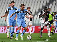 Calcio, Serie A: Juventus - Lazio, Allianz Stadium, July 20, 2020.<br /> Lazio's Ciro Immobile (l) in action with Juventus' Blaise Matuidi (r) during the Italian Serie A football match between Juventus and Lazio at the Allianz stadium in Turin, July 20, 2020.<br /> UPDATE IMAGES PRESS/Isabella Bonotto