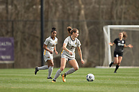 LOUISVILLE, KY - MARCH 13: Mackenzie Aunkst #2 of West Virginia University maneuvers the ball during a game between West Virginia University and Racing Louisville FC at Thurman Hutchins Park on March 13, 2021 in Louisville, Kentucky.