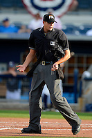 Umpire Ryan Additon during a game between the Charlotte Stone Crabs and Palm Beach Cardinals at Charlotte Sports Park on April 7, 2013 in Port Charlotte, Florida.  Palm Beach defeated Charlotte 8-1.  (Mike Janes/Four Seam Images)