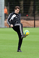 Tuesday 15 January 2013<br /> Pictured: Manager Michael Laudrup showing off his skills with the ball<br /> Re: Swansea City FC training near the Liberty Stadium ahead of their Cup game against Arsenal at the Emirates Stadium.