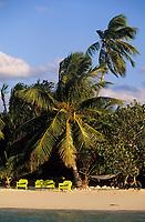 Iles Bahamas /Ile d'Andros/South Andros: la plage et les palmiers de l'Eco-Lodge-Tiamo Resort // Bahamas Islands / Andros Island / South Andros: the beach and palm trees of Eco-Lodge-Tiamo Resort