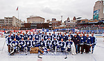 31 December 2013: Former Toronto Maple Leafs players pose for a team photo during the Toronto Maple Leafs v Detroit Red Wings Alumni Showdown hockey game, at Comerica Park, in Detroit, MI.