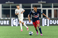 FOXBOROUGH, MA - AUGUST 5: Dennis Ramirez #37 of New England Revolution II looks to pass during a game between North Carolina FC and New England Revolution II at Gillette Stadium on August 5, 2021 in Foxborough, Massachusetts.