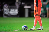 LAKE BUENA VISTA, FL - AUGUST 06: Pedro Gallese #1 of Orlando City SC prepares for the kick during a game between Orlando City SC and Minnesota United FC at ESPN Wide World of Sports on August 06, 2020 in Lake Buena Vista, Florida.