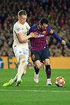 UEFA Champions League 2018/2019.<br /> Quarter-finals 2nd leg.<br /> FC Barcelona vs Manchester United: 3-0.<br /> Scott McTominay vs Lionel Messi.