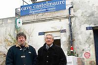 Bernard Pueyo, director, left, and Patrick de Marien, president Embres et Castelmaure Cave Cooperative co-operative. Les Corbieres. Languedoc. France. Europe.