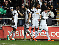 Saturday, 08 February 2014<br /> Pictured L-R: Wilfried Bony of Swansea celebrating his goal with team mates Chico Flores, Ashley Williams and Pablo Hernandez.<br /> Re: Barclay's Premier League, Swansea City FC v Cardiff City at the Liberty Stadium, south Wales, UK.