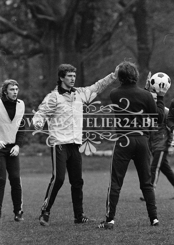 1977. RSC Anderlecht. Gilbert Van Binst en Ludo Coeck.