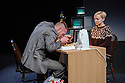 """London, UK. 09.11.2015. Belarus Free Theatre presents TIME OF WOMEN, written by Nicolai Khalezin and Natalia Kaliada, directed by Nicolai Khalezin, at the Young Vic. This is the world premiere of the production, as part of a two-week festival of performances entitled """"Staging a REvolution"""", to celbrate the tenth anniversary of Belarus Free Theatre. Picture shows: Kiryl Kanstantsinau, Maryna Yurevich. Photograph © Jane Hobson."""
