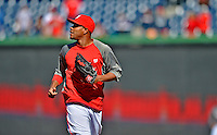 11 October 2012: Washington Nationals pitcher Edwin Jackson trots back to the dugout after batting practice prior to Postseason Playoff Game 4 of the National League Divisional Series against the St. Louis Cardinals at Nationals Park in Washington, DC. The Nationals defeated the Cardinals 2-1 on a 9th inning, walk-off solo home run by Jayson Werth, tying the Series at 2 games apiece. Mandatory Credit: Ed Wolfstein Photo