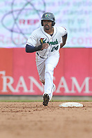Cedar Rapids Kernels right fielder Jaylin Davis (24) runs to third base during a game against the Beloit Snappers at Veterans Memorial Stadium on April 9, 2017 in Cedar Rapids, Iowa.  The Kernels won 6-1.  (Dennis Hubbard/Four Seam Images)