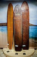 Duke Kahanamoku and other respected watermen's wooden surfboards on display at Bishop Museum, Honolulu, O'ahu.