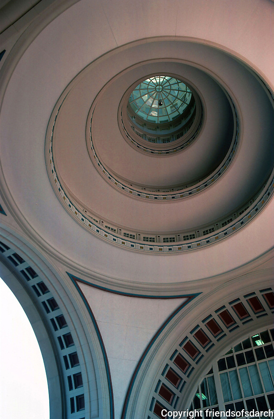 Boston:  Rowes Wharf--detail of domed ceiling and arches.  Photo '91.