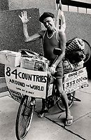 1988 FILE PHOTO - ARCHIVES -<br /> <br /> Pedal Power, Conrad Dube, 57, stops in Metro on his eighth fund-raising bicycle trip around the world. The Quebec city native hit the road in 1955 after a bout with polio.<br /> <br /> PHOTO :  John Mahler - Toronto Star Archives - AQP