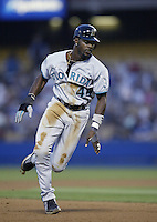 Preston Wilson of the Florida Marlins runs the bases during a 2002 MLB season game against the Los Angeles Dodgers at Dodger Stadium, in Los Angeles, California. (Larry Goren/Four Seam Images)