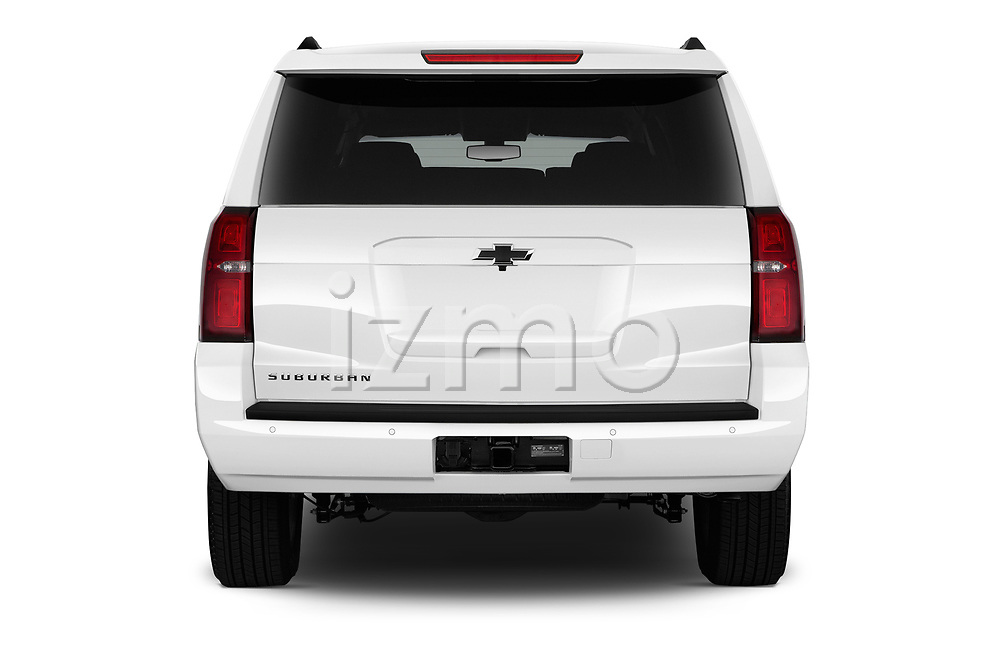 Straight rear view of 2016 Chevrolet Suburban 1500 LS 5 Door SUV stock images