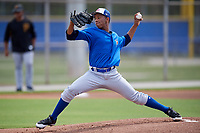Toronto Blue Jays starting pitcher Naswell Paulino (9) delivers a pitch during a Florida Instructional League game against the Pittsburgh Pirates on September 20, 2018 at the Englebert Complex in Dunedin, Florida.  (Mike Janes/Four Seam Images)