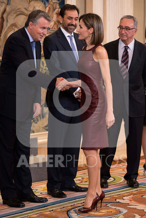 Queen Letizia of Spain during Royal Audience with a representation of the Spanish Federation of industries of food and beverages (FIAB) at Zarzuela Palace in Madrid, October 30, 2015.<br /> (ALTERPHOTOS/BorjaB.Hojas)