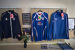 Ramsbottom United 1 Barwell 3, 03/10/2015. Riverside Stadium, Northern Premier League. Replica home team strips for sale in the refreshment hut at the Harry Williams Riverside Stadium, home to Ramsbottom United before they played Barwell in a Northern Premier League premier division match. This was the club's 13th league game of the season and they were still to record their first victory following a 3-1 defeat, watched by a crowd of 176. Rams bottom United were formed by Harry Williams, the current chairman, in 1966 and progressed from local amateur football  in Bury to the semi-professional leagues. Photo by Colin McPherson.