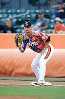 Aberdeen Ironbirds first baseman Steve Laurino (56) during a game against the Tri-City ValleyCats on August 6, 2015 at Ripken Stadium in Aberdeen, Maryland.  Tri-City defeated Aberdeen 5-0 in a combined no-hitter.  (Mike Janes/Four Seam Images)