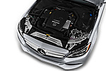 Car stock 2017 Mercedes Benz C Class C350e 4 Door Sedan engine high angle detail view