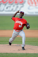 Auburn Doubledays pitcher Deion Williams #20 during a game against the Williamsport Crosscutters on July 8, 2013 at Bowman Field in Williamsport, Pennsylvania.  Auburn defeated Williamsport 5-1.  (Mike Janes/Four Seam Images)