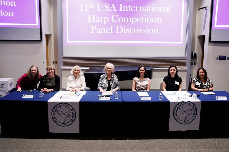 Panelists pose for a photo before the panel discussion at the 11th USA International Harp Competition at Indiana University in Bloomington, Indiana on Friday, July 12, 2019. Pictured from left are: Melanie Mashner, Elzbieta Szmyt, Susann McDonald, Linda Wood Rollo, Isabel Moreton, Jung Kwak and Kaori Otaki. (Photo by James Brosher)