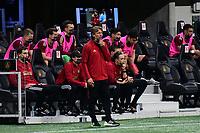 ATLANTA, GA - APRIL 27: Atlanta United coach Gabriel Heinze watches his team during a game between Philadelphia Union and Atlanta United FC at Mercedes-Benz Stadium on April 27, 2021 in Atlanta, Georgia.