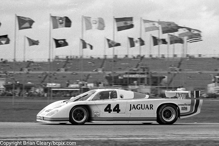 The #44 Jaguar XJR-5 of Doc Bundy, David Hobbs, and Bob Tullius races to a third place finish in the SunBank 24 at Daytona, Daytona International Speedway, Daytona Beach, FL, Feb. 4-5, 1984. (Photo by Brian Cleary/www.bcpix.com)