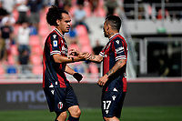 Arthur Theate of Bologna FC celebrates with Gary Medel after scoring the goal of 2-0 during the Serie A football match between Bologna FC and SS Lazio at Renato Dall'Ara stadium in Bologna (Italy), October 3rd, 2021. Photo Andrea Staccioli / Insidefoto