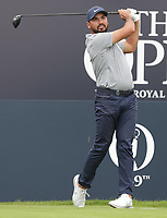 13th July 2021; The Royal St. George's Golf Club, Sandwich, Kent, England; The 149th Open Golf Championship, practice day; Jason Day (AUS) watches his tee shot on the 1st hole