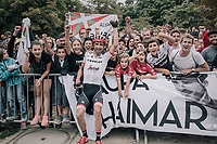 Haimar Zubeldia (ESP/Trek-Segafredo) with his fans and family on the Champs-Elysées after finishing his very last Tour de France<br /> <br /> 104th Tour de France 2017<br /> Stage 21 - Montgeron › Paris (105km)