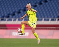 TOKYO, JAPAN - JULY 24: Caroline Seger #17 of Sweden controls the ball during a game between Australia and Sweden at Saitama Stadium on July 24, 2021 in Tokyo, Japan.