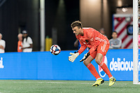 FOXBOROUGH, MA - AUGUST 4: Tyler Miller #1 of Los Angeles FC collects a shot during a game between Los Angeles FC and New England Revolution at Gillette Stadium on August 3, 2019 in Foxborough, Massachusetts.