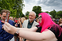 Pictured: Labour leader Jeremy Corbyn poses for a selfie with a supporter. Sunday 01 July 2018<br /> Re: Labour Party leader Jeremy Corbyn at the celebration for the 70 years since the National Health Service (NHS) was founded by Aneurin Bevan, Bedwellty Park, Tredegar, Wales, UK.