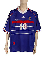 BNPS.co.uk (01202) 558833.<br /> Pic: Julien's Auctions/BNPS<br /> <br /> Pictured: Zinedine Zidane's FIFA World Cup France 98 final shirt<br /> <br /> Iconic sports memorabilia including Zinedine Zidane's FIFA World Cup France 98 final shirt has emerged for sale.<br /> <br /> The legendary French footballer wore the classic blue Adidas shirt while scoring two headers in his nation's 3-0 win over Brazil at the Stade de France in Paris.<br /> <br /> The signed shirt, which is embroidered 'Brasil France 12-07-98', is tipped to fetch £90,000 with US based Julien's Auctions, of California.<br /> <br /> Also going under the hammer is Diego Maradona's Argentina shirt for their World Cup 1990 clash against Brazil, which is valued at £45,000.<br /> <br /> One of the marquee lots is basketball superstar Michael Jordan's 1992 Barcelona Olympics 'Dream Team' US vest that could go for £35,000.