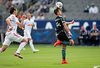 CARSON, CA - APRIL 25: Javier Hernandez #14 of the Los Angeles Galaxy moves with the ball during a game between New York Red Bulls and Los Angeles Galaxy at Dignity Health Sports Park on April 25, 2021 in Carson, California.