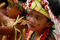 A young girl, very traditional Yapese during a ceremony in their village on Yap Day. Yap Micronesia