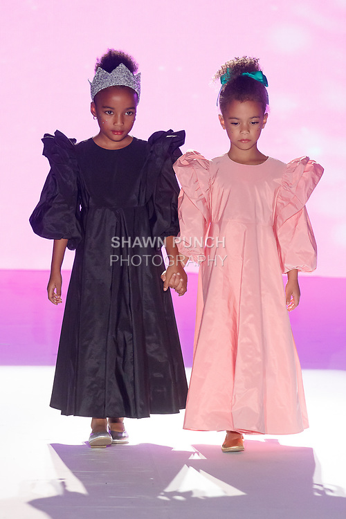 Model walks runway in an outfit from the Maman Salon Spring Summer 2020 runway show, for The Society Fashion Week Spring Summer 2020 during New York Fashion Week, on September 7, 2019.