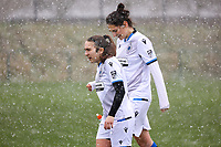 Angel Kerkhove (11) of Club Brugge and Frieke Temmerman (17) of Club Brugge pictured before a friendly female soccer game between SC Eendracht Aalst and Club Brugge YLA on Saturday 16 January 2021 at Zandberg Youth Complex in Aalst , Belgium . PHOTO SPORTPIX.BE   SPP   SEVIL OKTEM