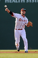Boston Red Sox shortstop Stephen Drew (7) throws out a runner for the Class A Greenville Drive on a tuneup assignment in a game against the Augusta GreenJackets on Friday, May 23, 2014, at Fluor Field at the West End in Greenville, South Carolina. (Tom Priddy/Four Seam Images)