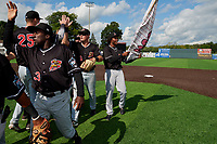 Batavia Muckdogs Milton Smith II (33), Nic Ready (3), and  Ronal Reynoso (2) high five teammates after clinching the Pinckney Division Title during a NY-Penn League game against the Auburn Doubledays on September 2, 2019 at Falcon Park in Auburn, New York.  Batavia defeated Auburn 7-0 to clinch the Pinckney Division Title.  (Mike Janes/Four Seam Images)