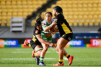 Janna Michal Vaughan of the Manawatu is tackled during the Farah Palmer Cup Rugby – Wellington v Manawatu at Sky Stadium, Wellington, New Zealand on Friday 25 September 2020. <br /> Photo by Masanori Udagawa. <br /> www.photowellington.photoshelter.com