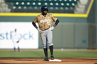 Eric Jenkins (12) of the Down East Wood Ducks stands on second base during the game against the Winston-Salem Dash at BB&T Ballpark on May 12, 2018 in Winston-Salem, North Carolina. The Wood Ducks defeated the Dash 7-5. (Brian Westerholt/Four Seam Images)