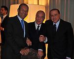 ANTONIO CATRICALA' CON GIANNI LETTA E SILVIO BERLUSCONI<br /> PREMIO GUIDO CARLI - TERZA  EDIZIONE<br /> PALAZZO DI MONTECITORIO - SALA DELLA LUPA<br /> CON RICEVIMENTO  HOTEL MAJESTIC   ROMA 2012