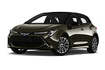 Stock pictures of low aggressive front three quarter view of a 2019 Toyota Corolla Style 5 Door Hatchback